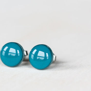 Deep Teal Post Earrings - Hypoallergenic Studs