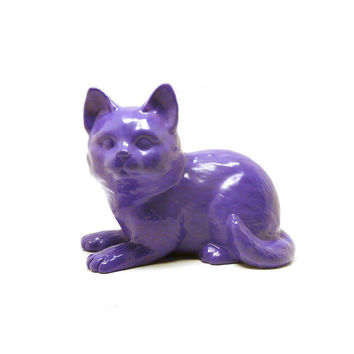 purple cat figurine  //  upcycled, purple, violet, home decor, ceramic figurines, kitty, cats, kitschy collectible