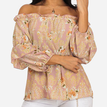 Stylish Floral Print Off-Shoulder 3/4 Sleeve Lightweight Slip On Top in TOPS