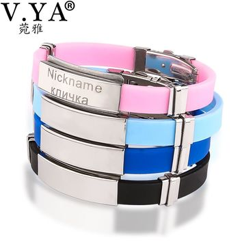 V.YA Laser Engraving Bracelet Men's Women's Customized Bracelets Stainless Steel Jewelry Best Unique Bangle for Lovers Couple