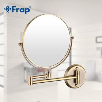 Frap wall mounted Vintage antique stainless steel brass Professional Vanity Mirror bathroom round Makeup mirror Espelho Y6108-4