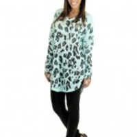 Blue Animal Print Top