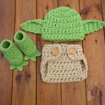 Yoda Costume Green Tan Baby Photo Prop