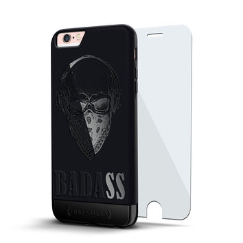 BADASS SKULL DESIGN VELVET & TITANIUM BLACK CASE FOR IPHONE 6S + TEMPERED GLASS