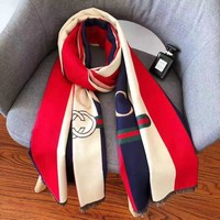 GUCCI Fashion Woman Men Warm Stripe Sunscreen Cape Scarf Scarves Accessories