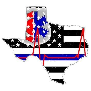 PEAPGQ9 Texas First Responder Thin Blue Line Flag Decal Sticker