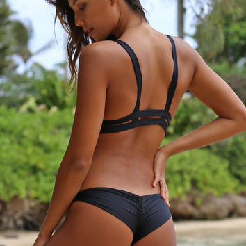 Vitamin A Swim Samba Ruched Back Bottom in Black Ecolux- Large