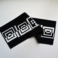 Graphic Table Runner, Table Decor, Geometric Table Decor, Black Wall Hanging, Quilted Table Topper, Abstract, Black & White