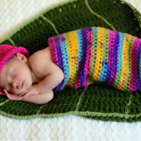Crocheted Yarn Newborn Photo Prop Girl Caterpillar sack and Hat Set