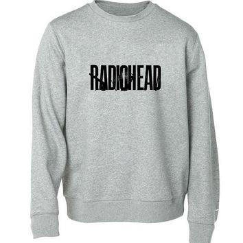 radio head logo sweater Gray Sweatshirt Crewneck Men or Women for Unisex Size with variant colour