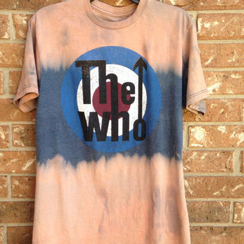 Bleached, tie dyed unisex medium the Who one of a kind t shirt// extra soft