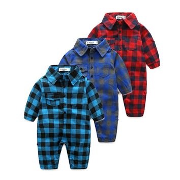 2017 Fashion Handsome Boy Romper Bow Tie Plaid Baby Onesuit 100%Cotton Gentleman Newborn Party Jumpsuit