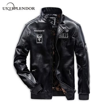 2018 Cool Men Motorcycle Leather Jackets Man Casual Bomber Jackets Solid Male Brand Coats Autumn Spring Boy Streetwear YN10308