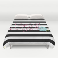 Modern Chic Floral Hello Duvet Cover by Doucette Designs
