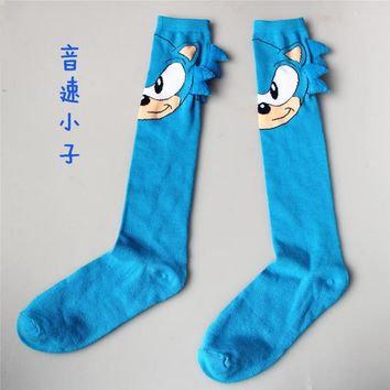 Sonic the Hedgehog Knee-High Socks Women Men Sonic Cosplay Calf Socks Cartoon Pattern Sports Casual Socks