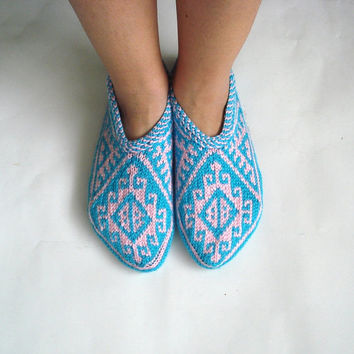 womens slippers, ethnic knit slippers, authentic, blue and pink Traditional Turkish Slippers Christmas gifts for women