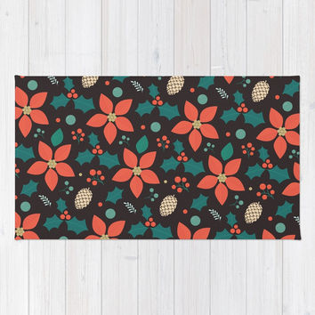 Deck the Halls (Black Background) Rug by lalainelim