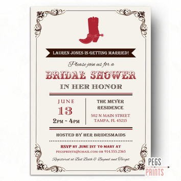 Country Bridal Shower Invitation - Western Bridal Shower Invitation - Cowgirl Bridal Shower Invitation (Printable) Boots and Bling