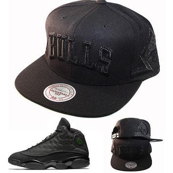 Mitchell & Ness NBA Chicago Bulls Snapback Hat Matches with Jordan 13 Black cat