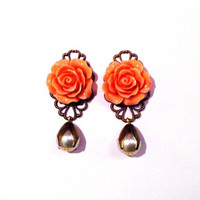 Coral Pink and Pearl Flower Earrings, spring fashion vintage style rose dangles - peach pink bridesmaids earrings