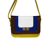 Brown/Blue/Yellow Color Block Crossbody by Big Buddha