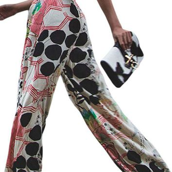 Graphic Print Palazzo Pants Trousers With Sash For Women