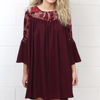 Floral Embroidered Velvet Mesh Neckline Dress {Burgundy}