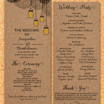 DIY Wedding Program Template Printable, Editable PDF Template, Instant Download, Digital, Kraft Mason Jars and Fireflies #1CM77-2