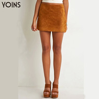 YOINS New Arrival Women Fashion Suede Mini Skirt Vintage High Waist Back Zip Bodycon Short Skirts Saia Femininas