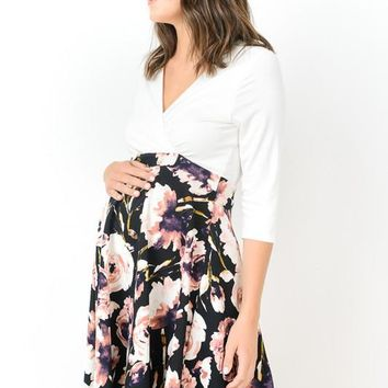 Color Block Flower Printed Maternity Dress