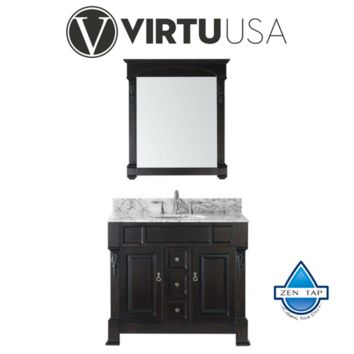 "Huntshire 40"" Single Bathroom Vanity in Dark Walnut with Marble Top and Round Sink with Polished Chrome Faucet and Mirror"