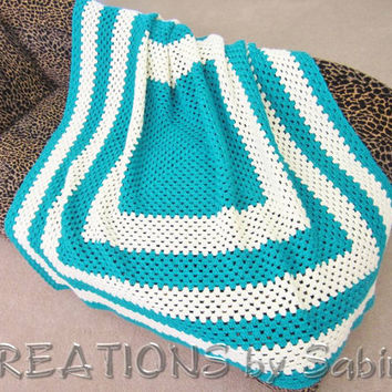 Large Handmade Crochet Afghan Blanket, Striped Throw, Square Lap Blanket, Teal Stripes, Ecru, Turquoise, Off White, Vintage FREE SHIPPING