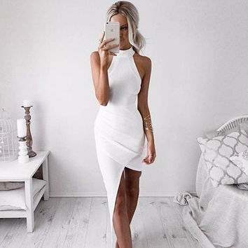 Gorgeous White Wrap Evening Party Prom Homecoming Dress
