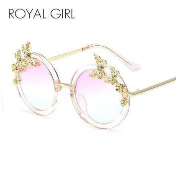 ROYAL GIRL Round Women Sunglasses Butterfly embellished Frame Glasses ss024