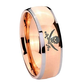 8MM Rose Gold Dome Skull Pirate 2 Tone Tungsten Carbide Laser Engraved Ring