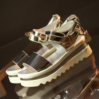 Stylish Summer Design Leather Double-layered Platform Wedge With Heel Metal Lock Casual Sandals [4920468612]