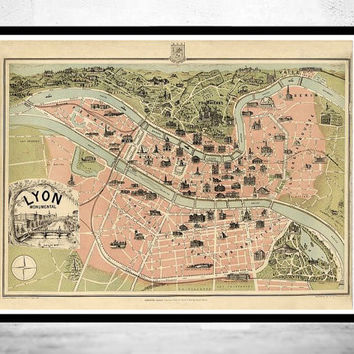 Old Map of Lyon Monumental France 1894