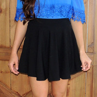Solid Skater Skirt- black