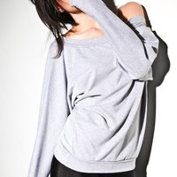 Oversized Dolman Sweater - Off Shoulder Sweatshirt, Dolman Top Heather Grey