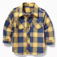 Plaid Poplin Shirt for Baby|old-navy