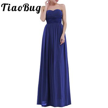 TiaoBug 2017 Women Sexy Elegant Floral Embroidery Chiffon Party Special Formal Occasion Bridesmaid Floor Length Maxi Long Dress