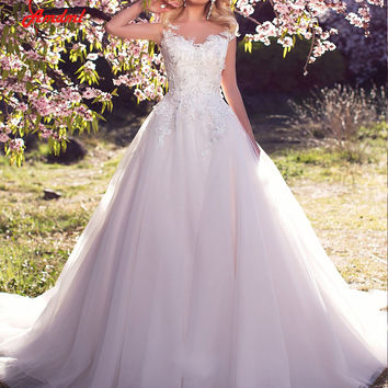 Amdml 2017 Vintage Embellished Ball Gown Wedding Dresses Sheer Tulle Skirt Appliques Crystals Flowers Bridal Gowns Plus Size