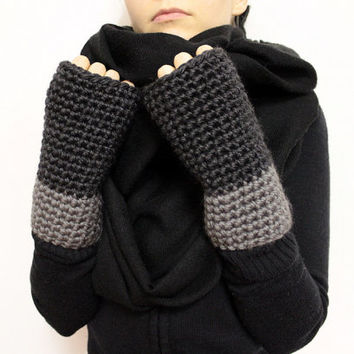 Two Tone Wrist Warmers, Gray Texting Mittens, Open Gloves, Fingerless Gloves, Two Tone Mittens, Chunky Hand Warmers, Typing Gloves