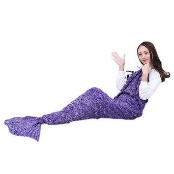 Mermaid Tail Fish Sofa Bed Warm Blanket  Handmade Crocheted Knit Cashmere Yarn Knitted For TV Sofa Blanket  New