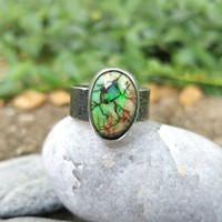 Monarch Opal Ring in Sterling Silver Size 10.25
