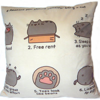 "Funny cartoon 6 reasons to be cat Cushion Cover decorative Throw Pillow Case 18"" 45 cm both Sides Home Bed Sofa Decoration cute"