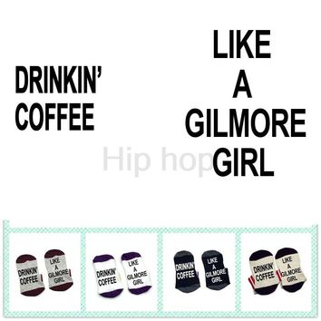 Socks Drinkin' Coffee Like A Gilmore Girl cotton elastic comfortable Men Women Socks gift socks