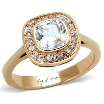 A Perfect 2CT Asscher Cut Halo Russian Lab Diamond 14K Rose Gold Ring