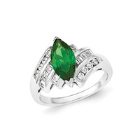 Sterling Silver Green and White Marquise CZ Ring