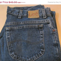 AWESOME LEE Jeans Denim Blue Jeans Vintage 80s Lee Denim Jeans Leather Patch Logo